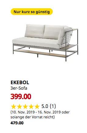 IKEA Würzburg - EKEBOL 3er-Sofa, Katorp natur - jetzt 17% billiger