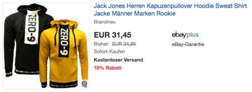 Jack Jones Herren Kapuzenpullover Rookie, gelb oder schwarz (S-2XL) - jetzt 10% billiger