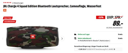 JBL Charge 4 Squad Edition Bluetooth Lautsprecher, Camouflage - jetzt 36% billiger