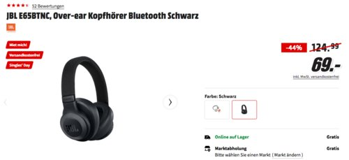 JBL E65BTNC Over-ear ANC Bluetooth Kopfhörer, schwarz - jetzt 30% billiger