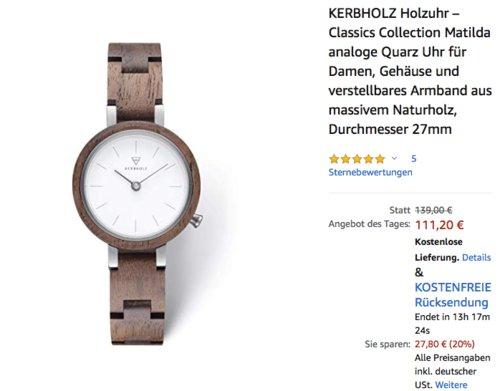 KERBHOLZ Holzuhr – Matilda analoge Quarz Uhr für Damen, 27 mm Durchmesser, Walnuss Weiß - jetzt 9% billiger
