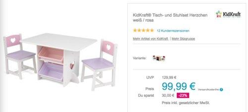 """KidKraft Tisch- und Stuhlset """"Herzchen"""", weiß / rosa - jetzt 8% billiger"""