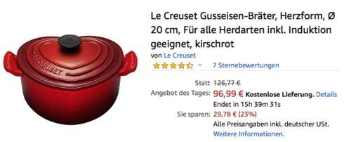 Le Creuset Gusseisen-Bräter in Herzform, Ø 20 cm, kirschrot - jetzt 25% billiger
