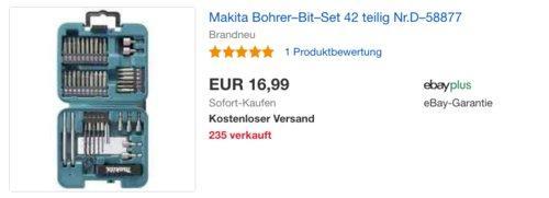 Makita D-58877 Bohrer-Bit-Set, 42-teilig - jetzt 24% billiger