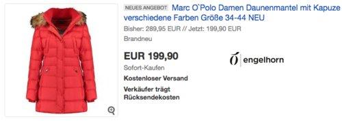 Marc O`Polo Damen Daunenmantel mit Kapuze, versch. Farben und Größen (34-44) - jetzt 23% billiger