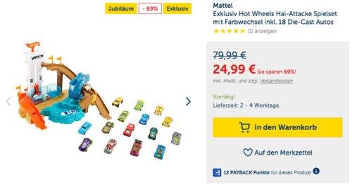Mattel Exklusiv Hot Wheels Hai-Attacke Spielset mit Farbwechsel inkl. 18 Die-Cast Autos - jetzt 13% billiger