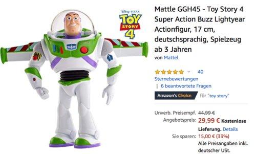 Mattle GGH45 - Toy Story 4 Super Action Buzz Lightyear Actionfigur, 17 cm - jetzt 9% billiger
