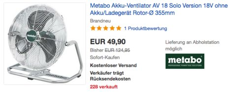 Metabo Akku-Ventilator AV 18 Solo, ohne Akku/Ladegerät - jetzt 15% billiger