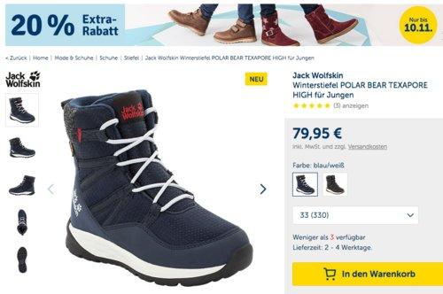 myToys.de - 20% Extra-Rabat auf Schuhe: z.B. Jack Wolfskin Jungen Winterstiefel POLAR BEAR TEXAPORE HIGH (26-33) - jetzt 19% billiger