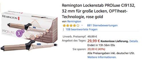 Remington Lockenstab PROluxe CI9132, 32 mm für große Locken - jetzt 14% billiger