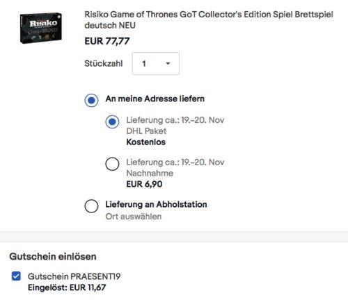 Risiko: Game of Thrones Collector's Edition Brettspiel, deutsch - jetzt 15% billiger