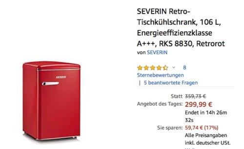 SEVERIN RKS 8830 106 L Retro-Tischkühlschrank, retrorot - jetzt 16% billiger