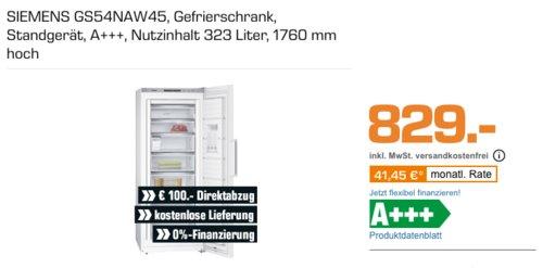 SIEMENS GS54NAW45 Gefrierschrank (A+++, 323 Liter, 176 cm hoch) - jetzt 4% billiger