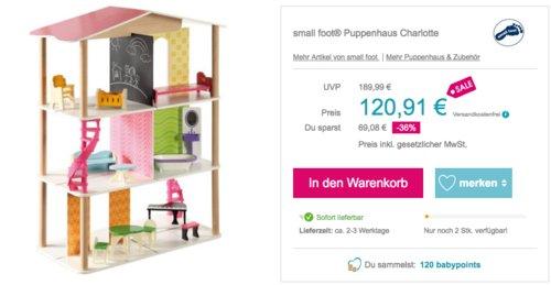 small foot® Holz Puppenhaus Charlotte inkl. 12 Einrichtungsgegenstände, 78 x 40 x 85 cm - jetzt 19% billiger