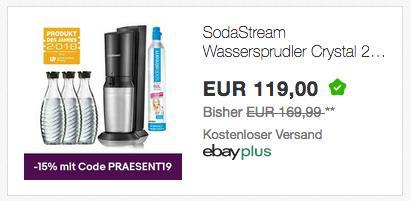 SodaStream Wassersprudler CRYSTAL 2.0 Titan/Silber inkl. 3x Glaskaraffen und 1x Co² Zylinder - jetzt 15% billiger