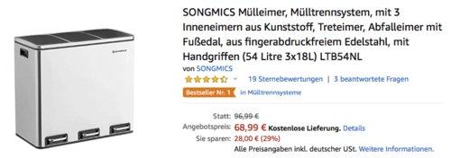 SONGMICS LTB54NL Edelstahl Mülltrennsystem mit 3 Inneneimern, 3x18L - jetzt 21% billiger