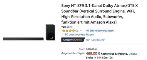 Sony HT-ZF9 3.1-Kanal Dolby Atmos/DTS:X Soundbar mit Subwoofer - jetzt 22% billiger