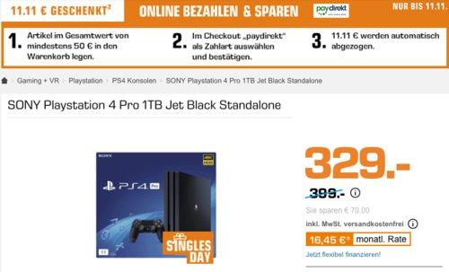 SONY Playstation 4 Pro 1TB Jet Black Standalone (CUH-7216B) - jetzt 6% billiger