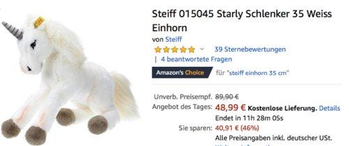 Steiff 015045 Starly Schlenker Einhorn, 35 cm - jetzt 21% billiger
