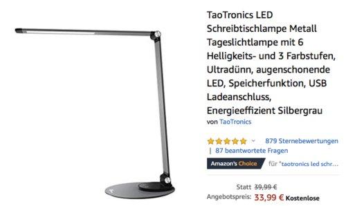 TaoTronics TT-DL22 LED Schreibtischlampe mit 6 Helligkeits- und 3 Farbstufen, silbergrau oder silberweiß - jetzt 15% billiger