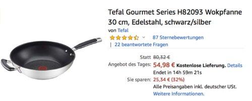 Tefal Gourmet Series H82093 Wokpfanne , 30 cm - jetzt 22% billiger