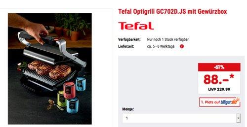 Tefal Optigrill GC702D.JS mit 4-teiliger Gewürzbox, 2000 Watt - jetzt 12% billiger