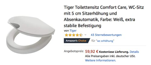 Tiger Toilettensitz Comfort Care, WC-Sitz mit 5 cm Sitzerhöhung und Absenkautomatik - jetzt 25% billiger