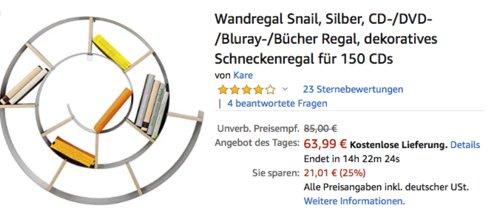 Wandregal Snail, CD-/DVD-/Bluray-/Bücher Regal (75.0 x 75.0 x 15.0 cm) - jetzt 21% billiger