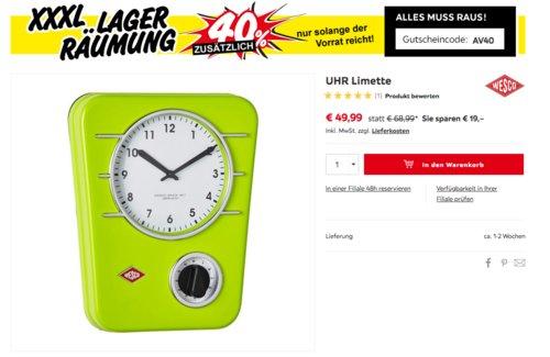 Wesco 322401-20 Küchenuhr Classic Line, limegrün - jetzt 30% billiger