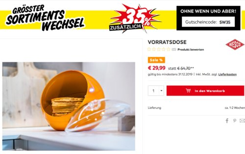 "WESCO Vorratsdose ""Spacy Ball"", orange - jetzt 31% billiger"