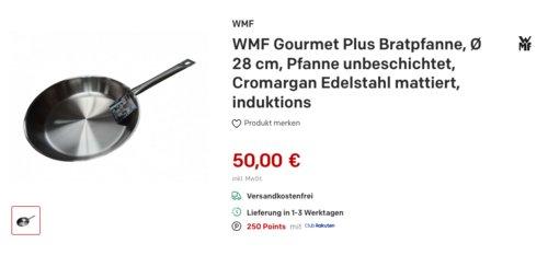 WMF Gourmet Plus Bratpfanne 28 cm, unbeschichtet Cromargan Edelstahl - jetzt 22% billiger