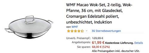 WMF Macao Wok-Set, 36 cm Wok-Pfanne mit Glasdeckel - jetzt 11% billiger