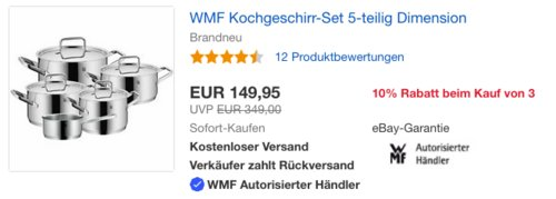 WMF Topf-Set Dimension, 5-teilig - jetzt 20% billiger