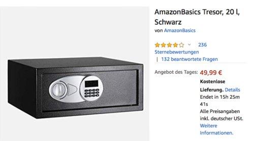 AmazonBasics 19,8 Liter Tresor mit Elektronikschloss, schwarz - jetzt 17% billiger
