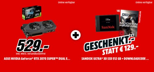 ASUS GeForce® RTX 2070 SUPER™ Dual Evo OC 8GB Grafikarte inkl. SANDISK Ultra® 3D 512 GB interne SSD-Festplatte - jetzt 12% billiger