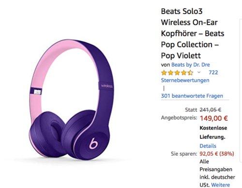 Beats Solo3 Wireless On-Ear Kopfhörer – Pop Violett - jetzt 10% billiger
