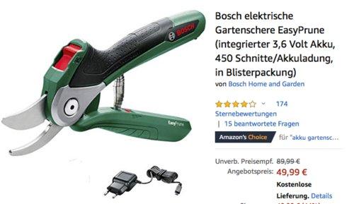 Bosch elektrische Gartenschere EasyPrune (3,6 Volt Akku, 450 Schnitte/Akkuladung, Blisterpackung) - jetzt 16% billiger