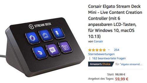 Corsair Elgato Stream Deck Mini - Live Content Creation Controller mit 6 anpassbaren LCD-Tasten (Windows 10, macOS 10.13) - jetzt 37% billiger