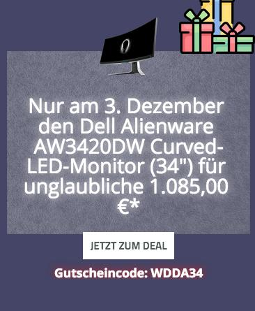 "Dell Alienware AW3420DW (34"") 86 cm Curved-LED-Monitor (3440 x1440, IPS, 2ms, 120Hz, WQHD) - jetzt 10% billiger"