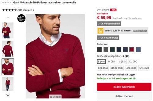 Gant Herren V-Ausschnitt-Pullover aus reiner Lammwolle, versch. Größen und Farben - jetzt 34% billiger