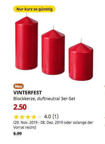 IKEA Berlin-Lichtenberg - VINTERFEST Blockkerze, duftneutral 3er-Set, rot - jetzt 58% billiger