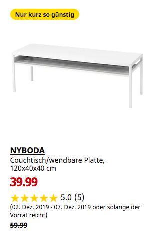 IKEA Großburgwedel - NYBODA Couchtisch/wendbare Platte, weiß/grau, 120x40x40 cm - jetzt 33% billiger