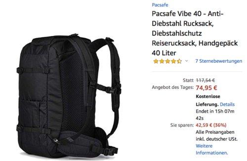 Pacsafe Vibe 40 - Anti-Diebstahl Rucksack, 40 Liter, schwarz - jetzt 38% billiger