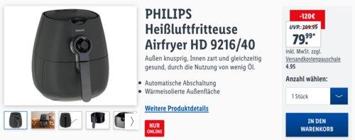 PHILIPS Heißluftfritteuse Airfryer HD 9216/40, 1425 W - jetzt 12% billiger