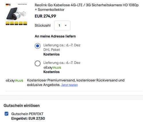 Reolink Go HD 1080p Sicherheitskamera  + Sonnenkollektor - jetzt 10% billiger