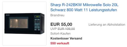 Sharp R-242BKW Mikrowelle, schwarz (20L, 800 Watt, 11 Leistungsstufen) - jetzt 24% billiger